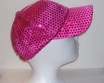 Hot Pink Fuchsia Sequined Rave Disco Baseball Style Hat Cap Adj. Sz S - XXL 4 Cosplays, Danceclubs, Raves, Parties, PokemonGo Teams, Etc.