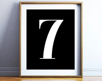 Number poster printable 7 - downloadable number print - bold typography - scandinavian black and white number wall poster - DIGITAL ARTWORK