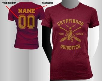 CAPTAIN - Custom back, Gryffin Quidditch team Captain YELLOW print on Women tee (BC6004)