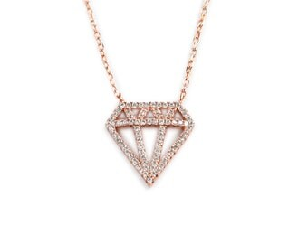 Sterling Silver Diamond Necklace With 40 CZ'S All Over (128)