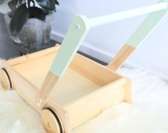 Wooden Trolley with Dipped Pastel Mint Handle