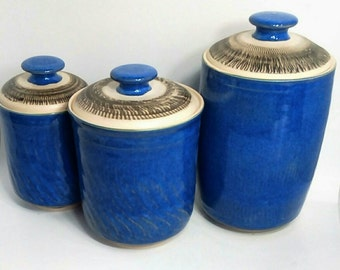Kitchen Canisters, Handmade Canisters, Kitchen Storage, Kitchen Decor, Blue Canisters, Handmade Pottery, Pottery