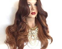 """TAKE IT~ Brown Ombre Hair Curly Body Lace Front Wig 22""""  """
