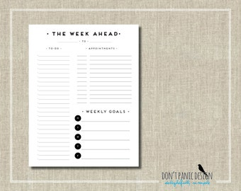 To Do List - Blak Art Deco Printable Weekly Planner Page - Daily Planner Sheet - Goal Planner