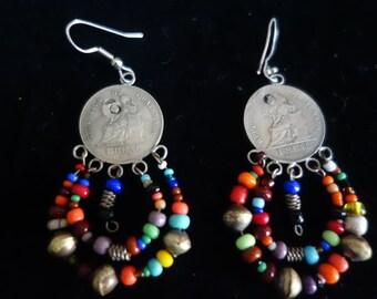 Vintage Guatemalan Silver Coin & Trade Bead Earrings