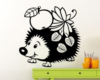 Hedgehog Wall Sticker Animals Vinyl Decal Home Kids Girl Nursery Room  Interior Decoration Waterproof High Quality