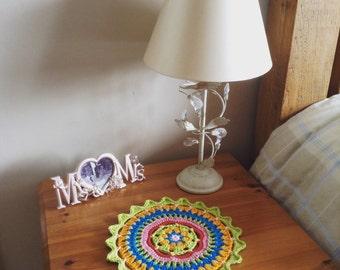 Crocheted mandala table decoration