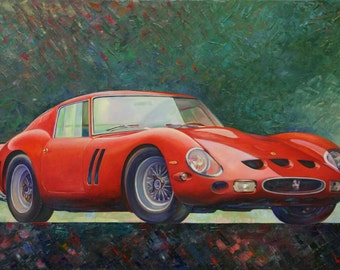 Kunst-Originalgemälde Ferrari GTO 250 - Öl auf Leinwand - 60x40cm