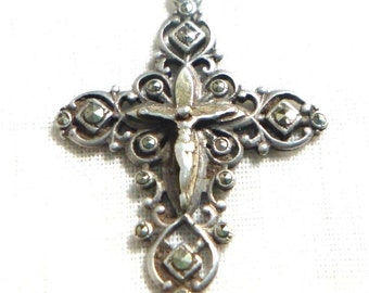 Antique Art Nouvevau Sterling Silver and Marcasite Pendant Cross circa 1890s