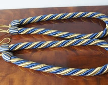 Pair french vintage thick rope curtain tie backs Blue Gold curtain tie ropes Passementerie