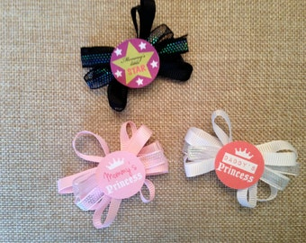 Custom Alligator Bow Hair Clip - Mommy's star, Mommy's Princess or Daddy's Princess
