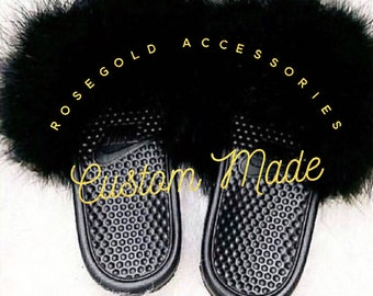 Fur Nike slides Fluffy Slides Nike Benassi  (fluffy faux fur black on black)