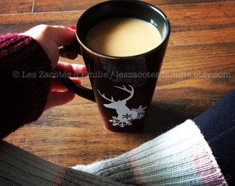 Winter decal with a deer and snowflakes for mug