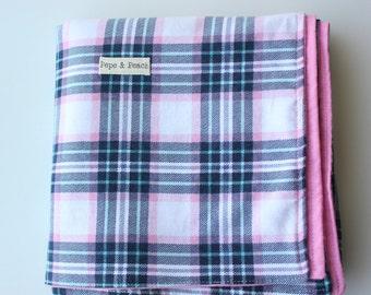 Baby Blanket ~ Throw Blanket ~ Crib ~ Pram ~ Lap ~ Cot ~ Nursery ~ Flannelette ~ Double sided ~ Tartan ~ Purple Blue ~ Handmade