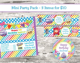 Shopkins Birthday Party Mini Party Kit Candy Wrapper Water Bottle Label Cupcake Topper Digital Printable