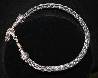 Oxidized Sterling Viking Knit Bracelet