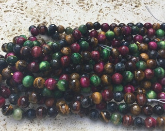 Mixed Four Color Tiger Eye Beads