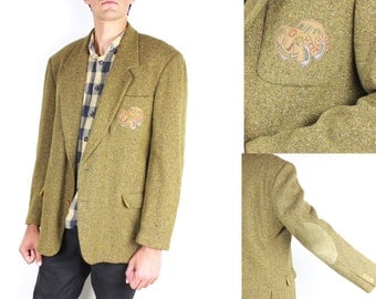 French Vintage 1980s Mens Harris Tweed Wool blazer / Greeny Mustard Yellow Suede Elbow Pads Sport Coat Fall Winter / Size XL suit Jacket
