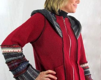 Upcycled, Katwise Inspired, Recycled Wool Zippered Jacket