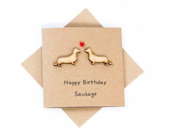 Happy Birthday Sausage Card - Birthday Card - Sausage Dogs - Dachshunds - Handmade - Animals - Dogs