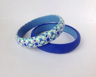 Modern Bracelet , Blue Turquoise Bracelet , Set of 2 bracelets , Everyday bracelet , Gift under 30, Bangles bracelet , Contemporary jewelry