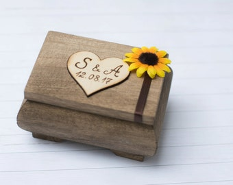 Wedding Ring Box Sunflower Ring Holder Pillow Rustic Wedding Ring Bearer Personalized