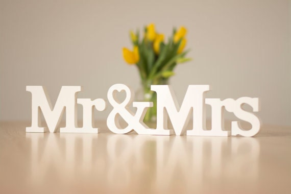 Wedding MR Mrs Sign Letter Sweetheart Table By HappyWeddingArt