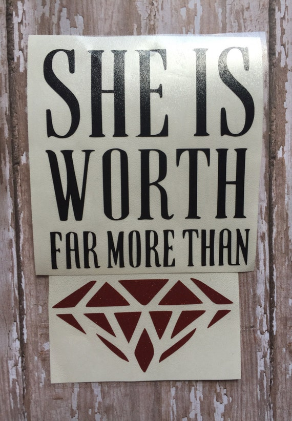 She is worth far more than rubies iron on decal/Proverbs 3:15 Iron on Decal/ Proverbs Woman Decal/ Yeti Cup Decal/ DIY Shirt Decal