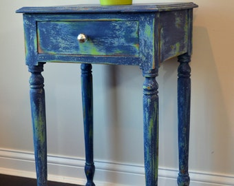Vintage Distressed End Table Layered With Antibes Green, Greek Blue And  Napoleonic Blue Annie Sloan