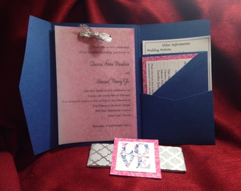 Custom made pocket style wedding invitations and inserts