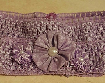 Headbands,Mommy and baby matching stretchy headbands in light lilac,the baby headband has 3 fabric flowers,mommy keepsake,baby shower gift