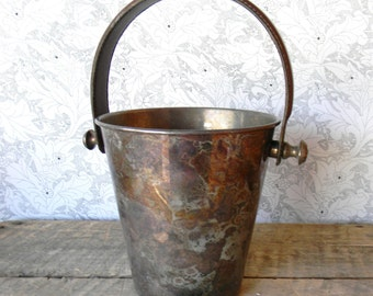 Zodax Ice Bucket - Vintage Aluminum and Leather Ice Bucket - Made in India