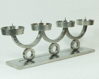 heavy brutalist stainless steel CANDELABRA machine age candleholder