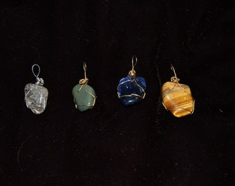 Wire Wrapped Polished Stone Pendants