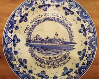 "Delft Blue Holland-America Line ""Rotterdam"" Commemorative Bowl to celebrate first world cruise of the flagship"