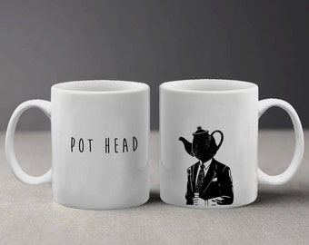 Pot Head Weed Coffee Illustration Funny and Cool Design Mug M173