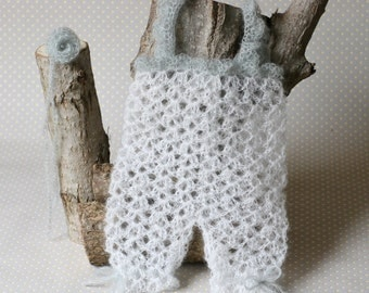 Handmade Crochet Newborn baby mohair Romper. Size 0 - 1 month. Ready to ship