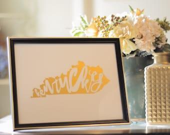 Kentucky Gold Foil Print
