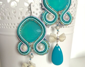 Handmade turquoise soutache earrings, silvery bow and turquoise pendant