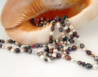 Necklace, Fresh Water Pearls, Multi Color