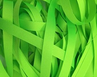 2 metres Berisfords 10mm Flo Green (6847) Grosgrain ribbon