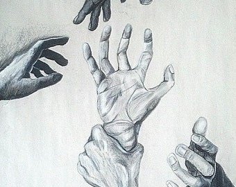 Charcoal Hands Reaching