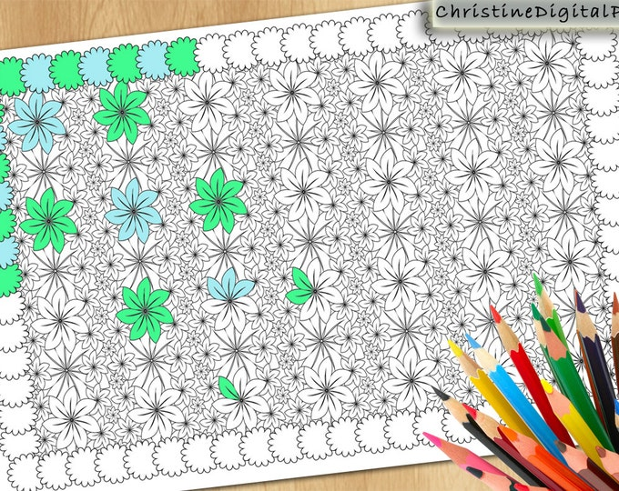 Colouring PDF, Instant Colouring Flower, Patterns Colouring, Grown Up Colouring, Advanced Coloring, Modern Coloring, Difficult Coloring Page