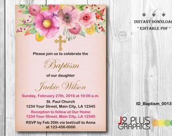INSTANT DOWNLOAD Floral Baptism Invitation Girl, Christening Invitation Girl, Baby Dedication, Printable Instant Download, DIY Editable pdf