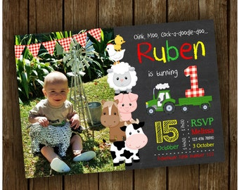 Barnyard Birthday Photo Invitation, Farm Chalkboard/Wood Invitation, Boy Birthday, Girl Birthday, Green Tractor Invite, Barnyard Party