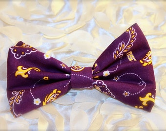 LSU- Hair Bow- Bows- Barrette- Team- Louisiana- Geaux tigers- tigers- Purple and Gold