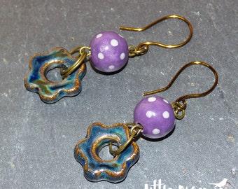 Dotty Denim - blue flower and purple spotty ceramic drop earrings