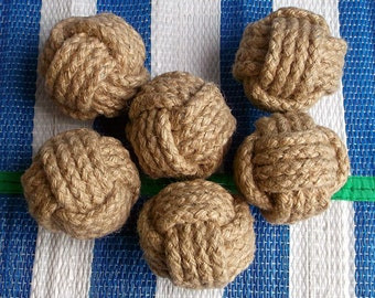 8 Monkey Fist/ 3 in wide/Natural Hemp/Braided rope /Table Card Holders/ Beach Party Knots/ Rustic/Mid-size/