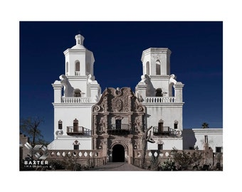 Old Spanish Mission, San Xavier del Bac, Historic, Tucson, Arizona, Fine Art Print