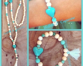 Necklace coconut BLUE Boho